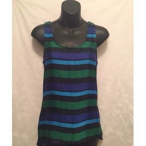 Striped Black, Blue, and Green Top